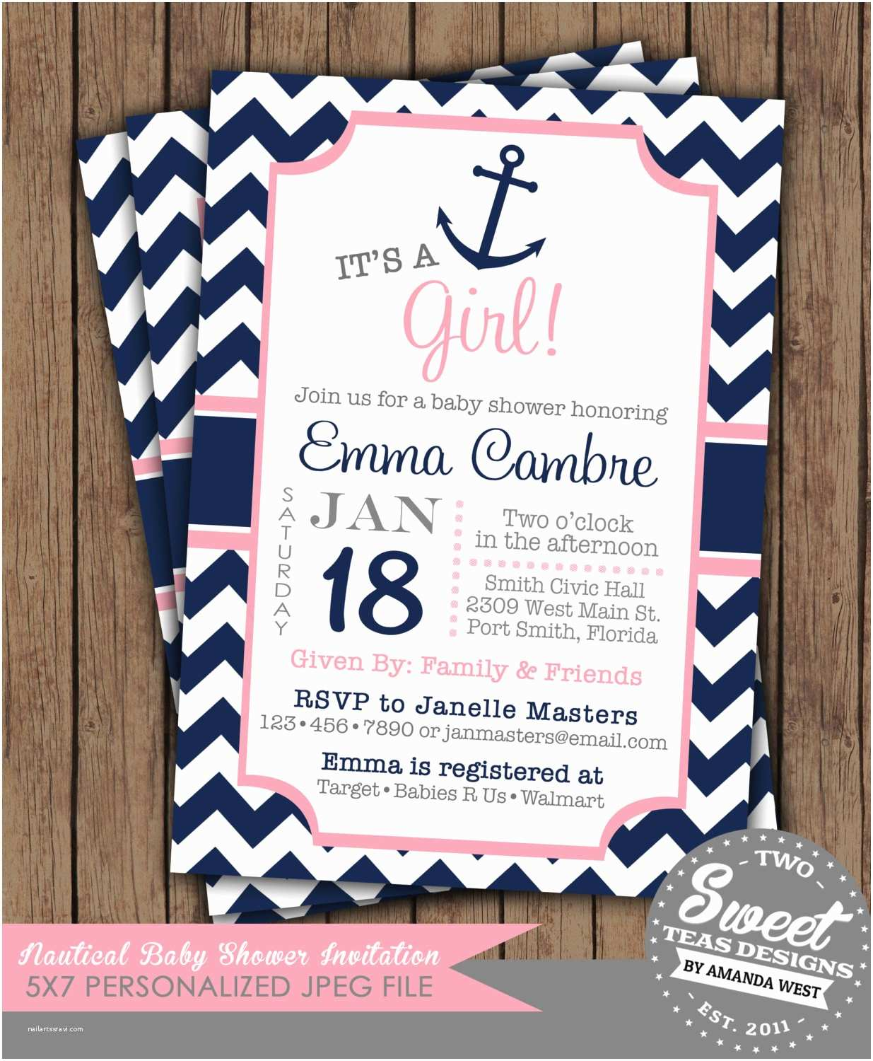 Nautical themed Baby Shower Invitations Nautical Girl Baby Shower Invitation Chevron by 2sweetteas