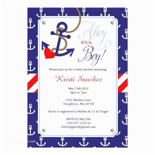 Nautical themed Baby Shower Invitations Nautical themed Baby Shower Invitation