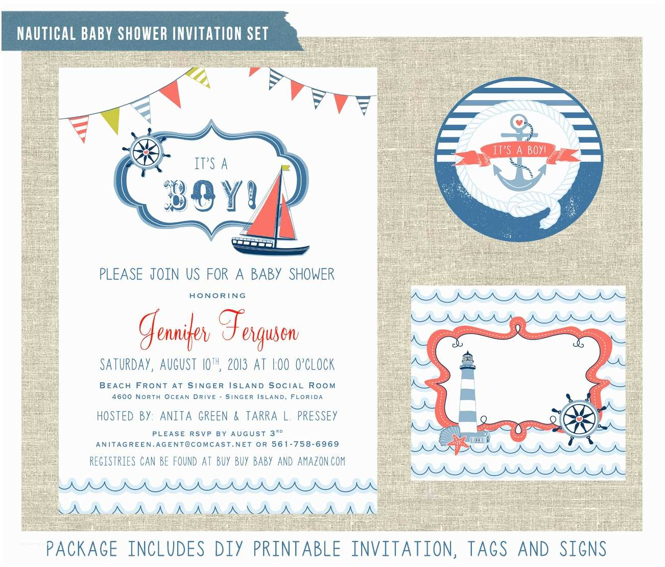 Nautical themed Baby Shower Invitations Nautical themed Baby Shower Invitation Set by
