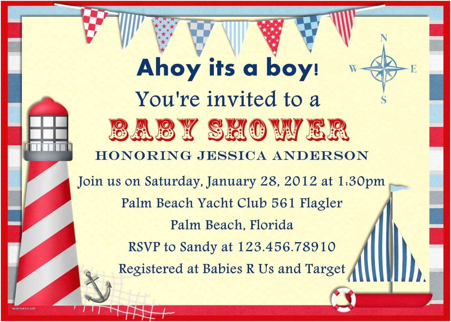 Nautical themed Baby Shower Invitations Template Nautical themed Baby Shower Invitations