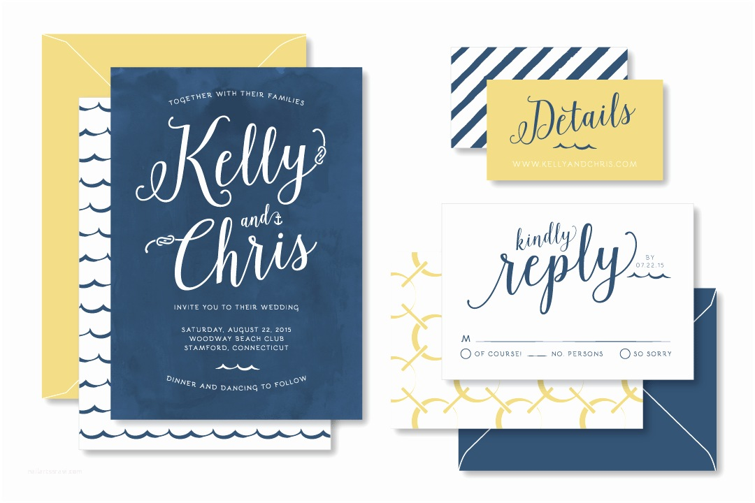 Nautical themed Wedding Invitations Anthologie Press