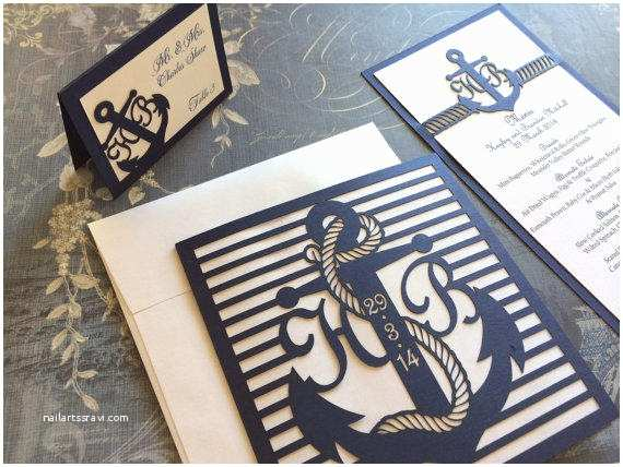 Nautical themed Wedding Invitations Laser Cut Wedding Invitations Nautical From Celinedesigns On