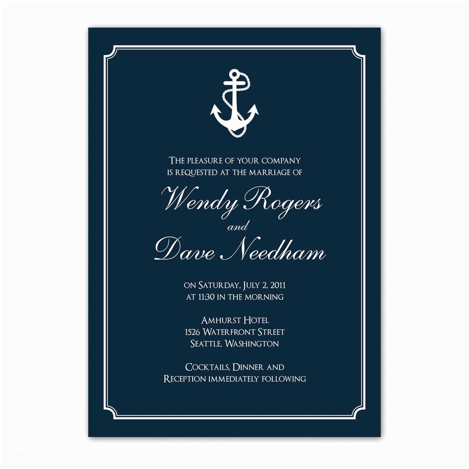 Nautical themed Wedding Invitations Nautical themed Wedding Invitation Anchors by Saralukecreative