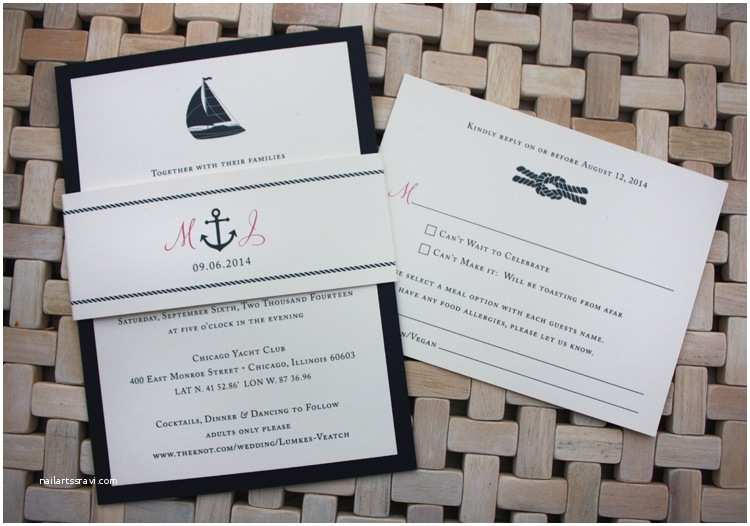 Nautical themed Wedding Invitations Navy & Pink Sailboat Anchor & Rope Knot Nautical Belly
