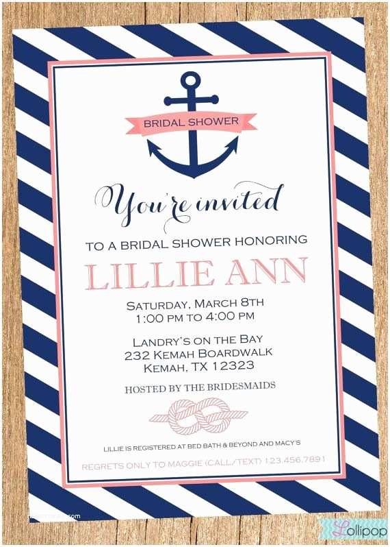 Nautical themed Wedding Invitations Personalized Anchors Away Nautical Bridal Shower