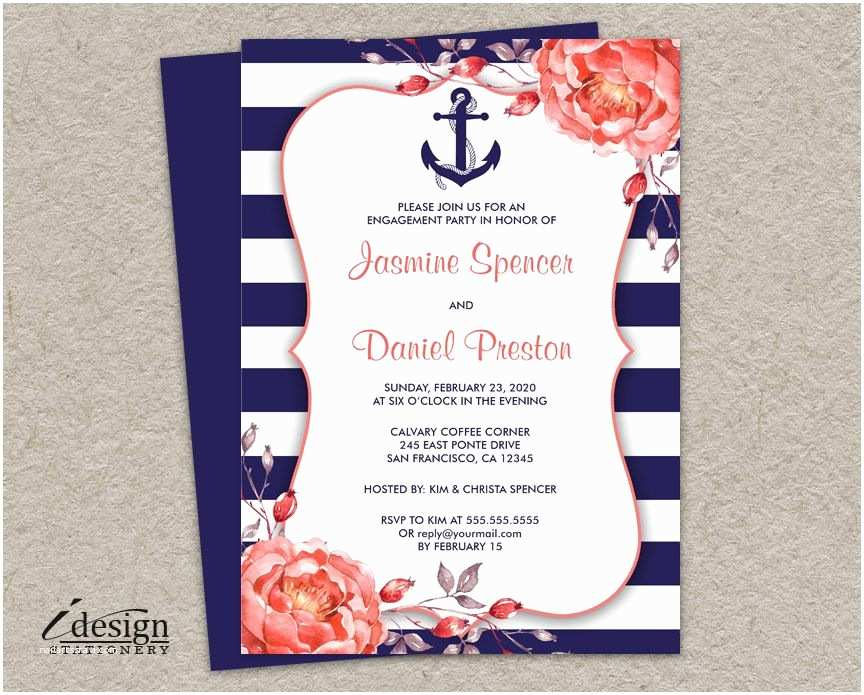 Nautical themed Wedding Invitations Printable Nautical themed Engagement Party Invitation with