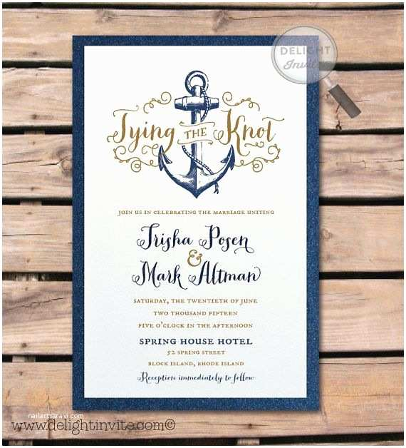Nautical themed Wedding Invitations Rustic Anchor Nautical Wedding Invitation and by