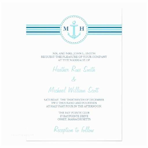 "Nautical themed Wedding Invitations Teal Monogram Nautical theme Wedding Invitation 5"" X 7"