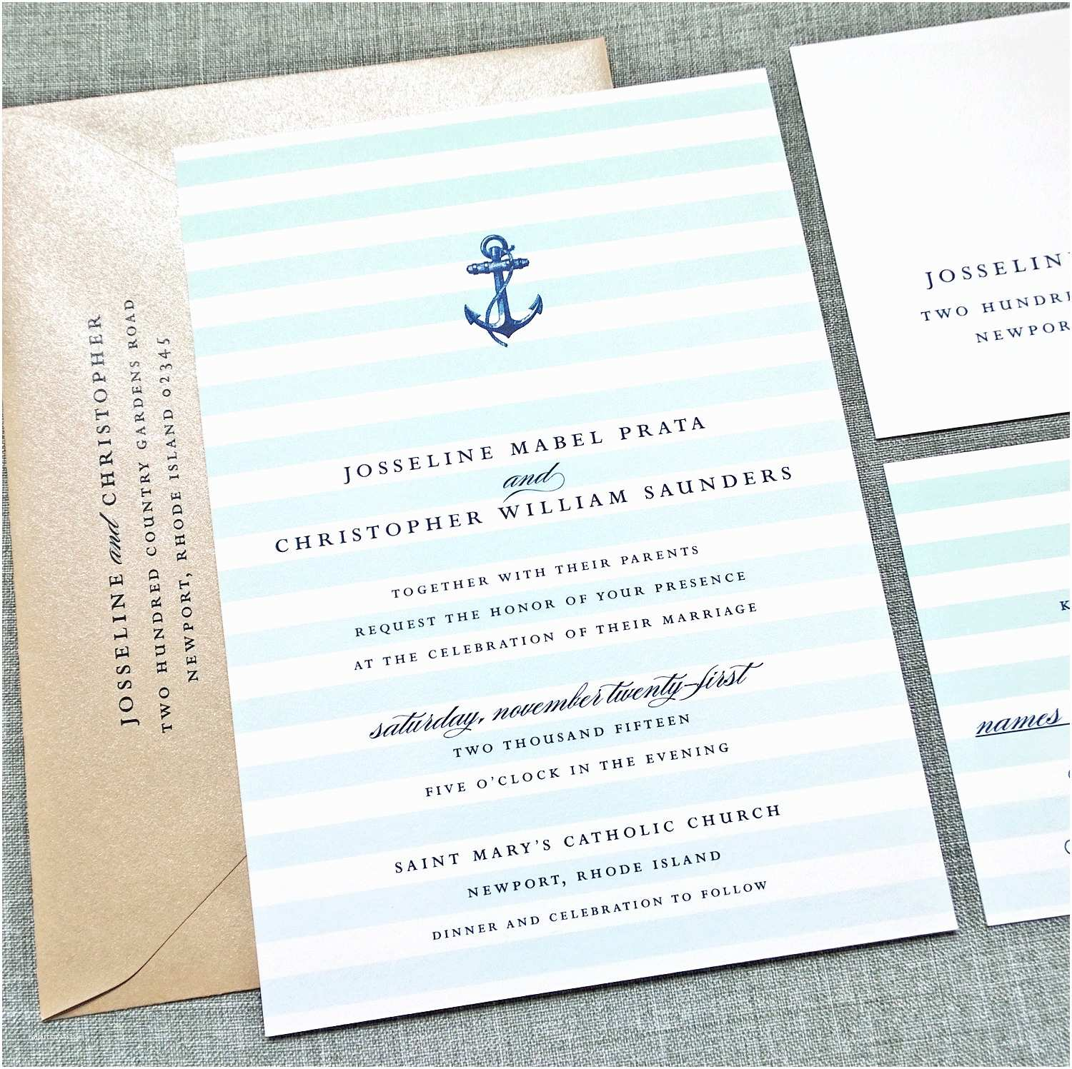 josseline nautical wedding invitation