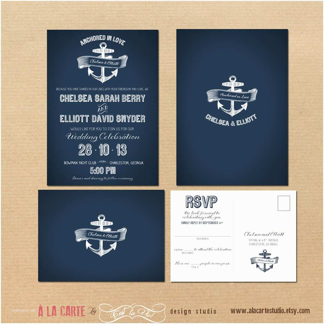 Nautical Wedding Invitations Nautical Anchor Wedding Invitation and Rsvp by Alacartepaperie