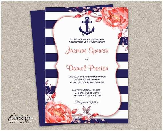 Nautical Wedding Invitations Nautical Wedding Invitation Printable Navy Blue and Coral