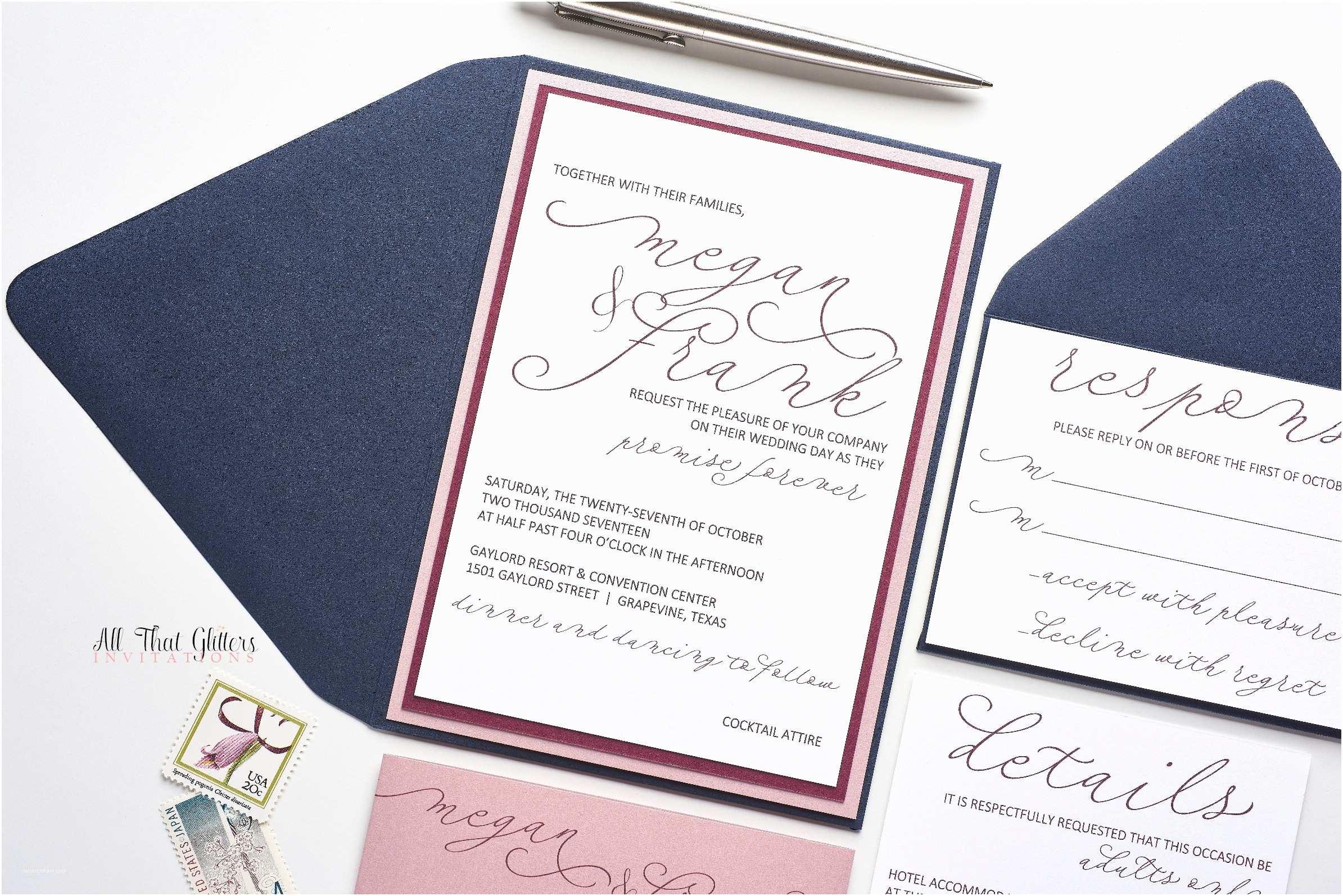 Navy and Blush Wedding Invitations Megan Handwritten Wedding Invitation