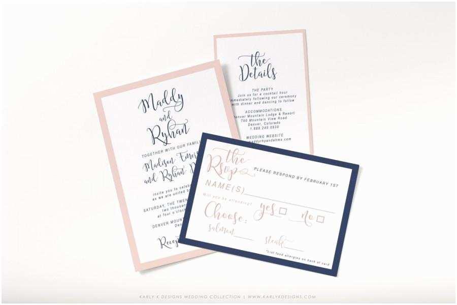 Navy and Blush Wedding Invitations Modern Navy and Blush Wedding Invitation Set Script