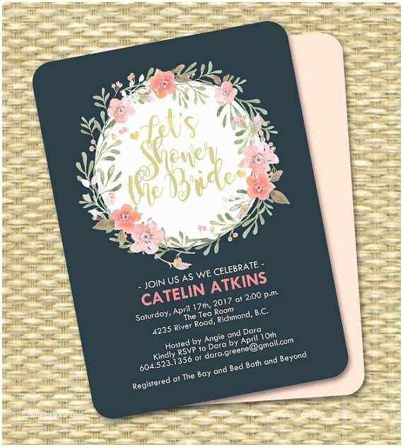 Navy and Blush Wedding Invitations Navy Blue Blush Pink Peach Floral Bridal Shower Invitation