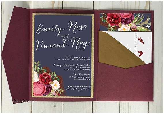 Navy and Burgundy Wedding Invitations Burgundy and Navy Wedding Invitation with Gold Accents by
