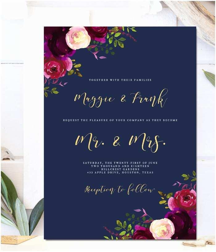 Navy and Burgundy Wedding Invitations Editable Wedding Invitation Template – Navy Marsala