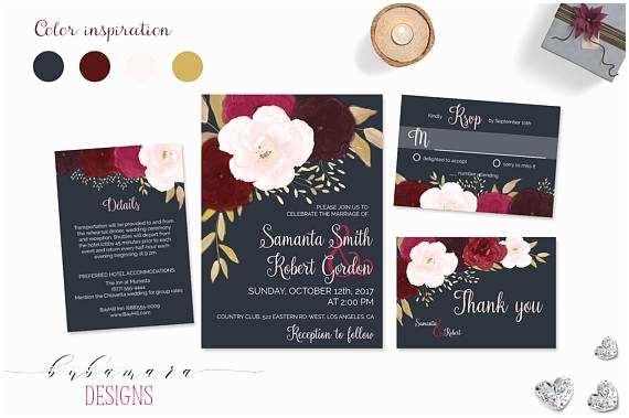 Navy and Burgundy Wedding Invitations Navy Burgundy Wedding Invitation Suite Printable Marsala Pink