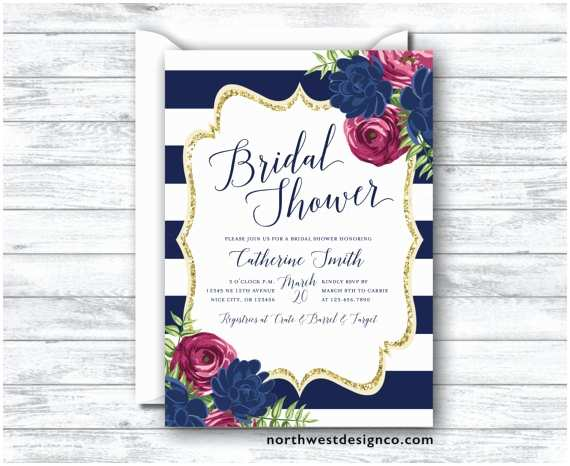 navy maroon bridal shower invitation