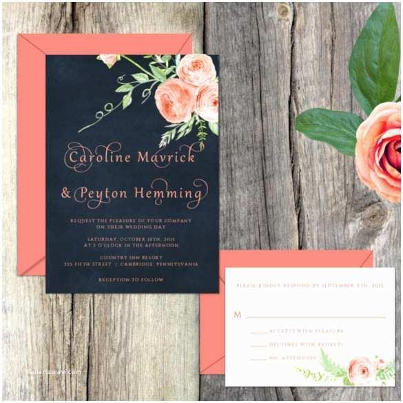 Navy and Coral Wedding Invitations 28 Modern Wedding Invitation Templates – Free Sample