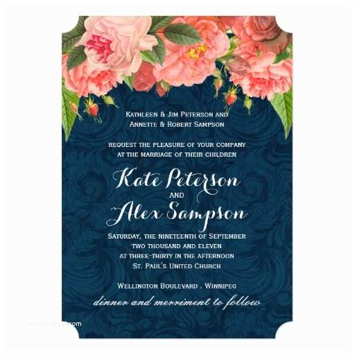 Navy and Coral Wedding Invitations Chic Coral and Navy Blue Wedding Invitation