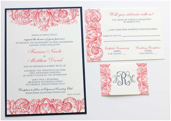 Navy and Coral Wedding Invitations Coral & Navy Wedding Invitations