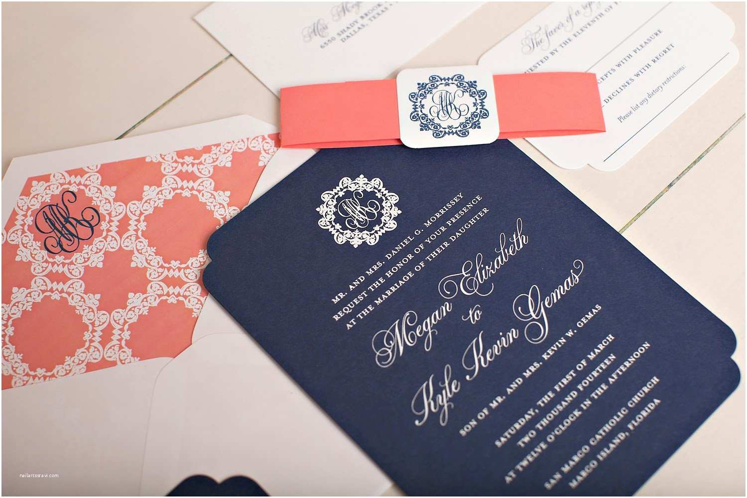 Navy and Coral Wedding Invitations Coral and Navy Wedding Invitations