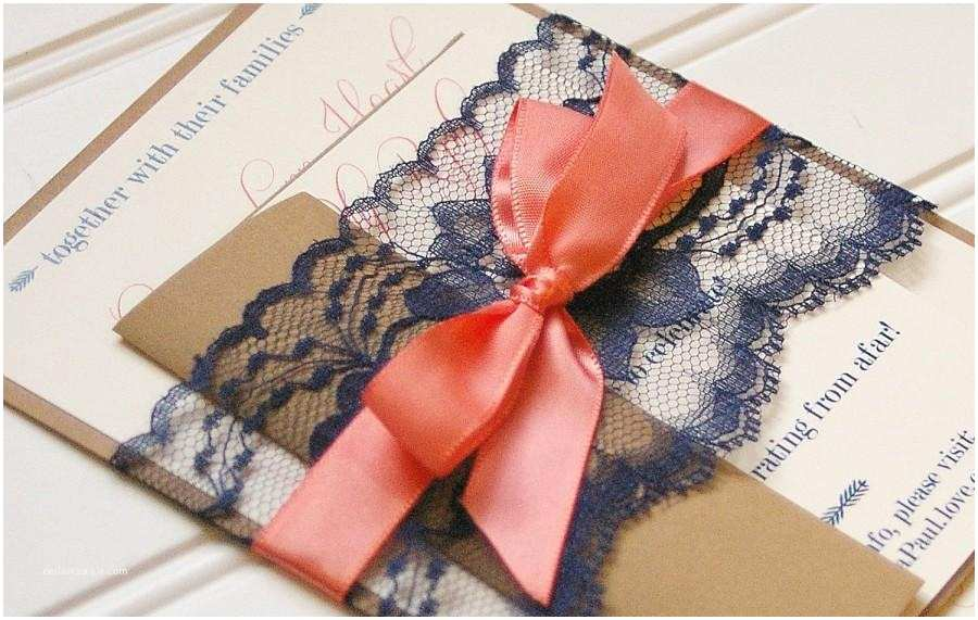 Navy and Coral Wedding Invitations Navy and Coral Wedding Invitations Lace Invitation