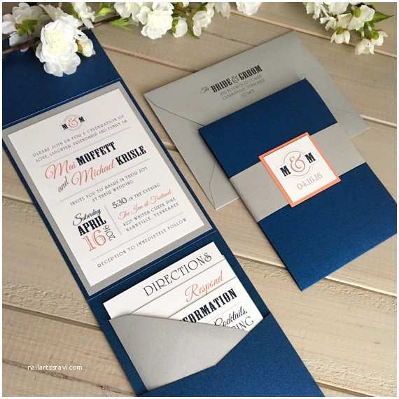 Navy and Coral Wedding Invitations Navy and Coral Wedding Invitations Modern by