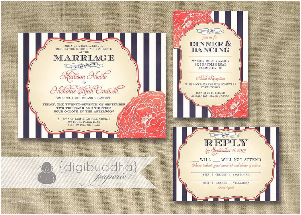 Navy and Coral Wedding Invitations Navy and Peach Wedding Invitation Various Invitation