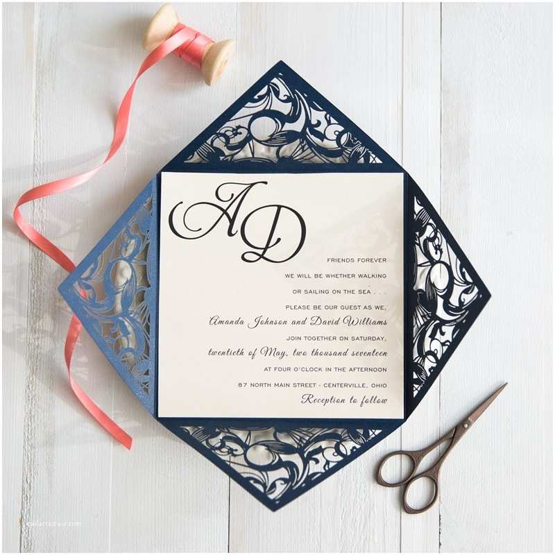 Navy and Coral Wedding Invitations Navy Blue and Coral Wedding Colors Inspired Elegant Laser