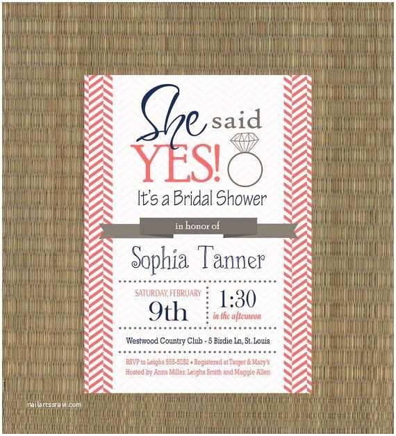 Navy and Coral Wedding Invitations Printable Wedding Shower Invitations Pink and Navy