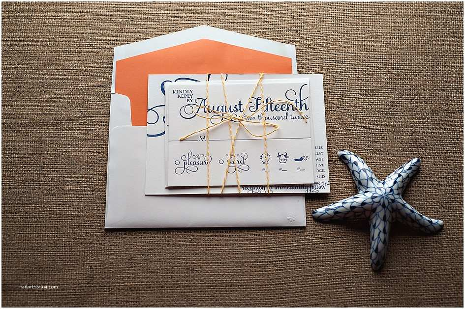 Navy and Coral Wedding Invitations Real Wedding Stephanie and John Navy and Coral