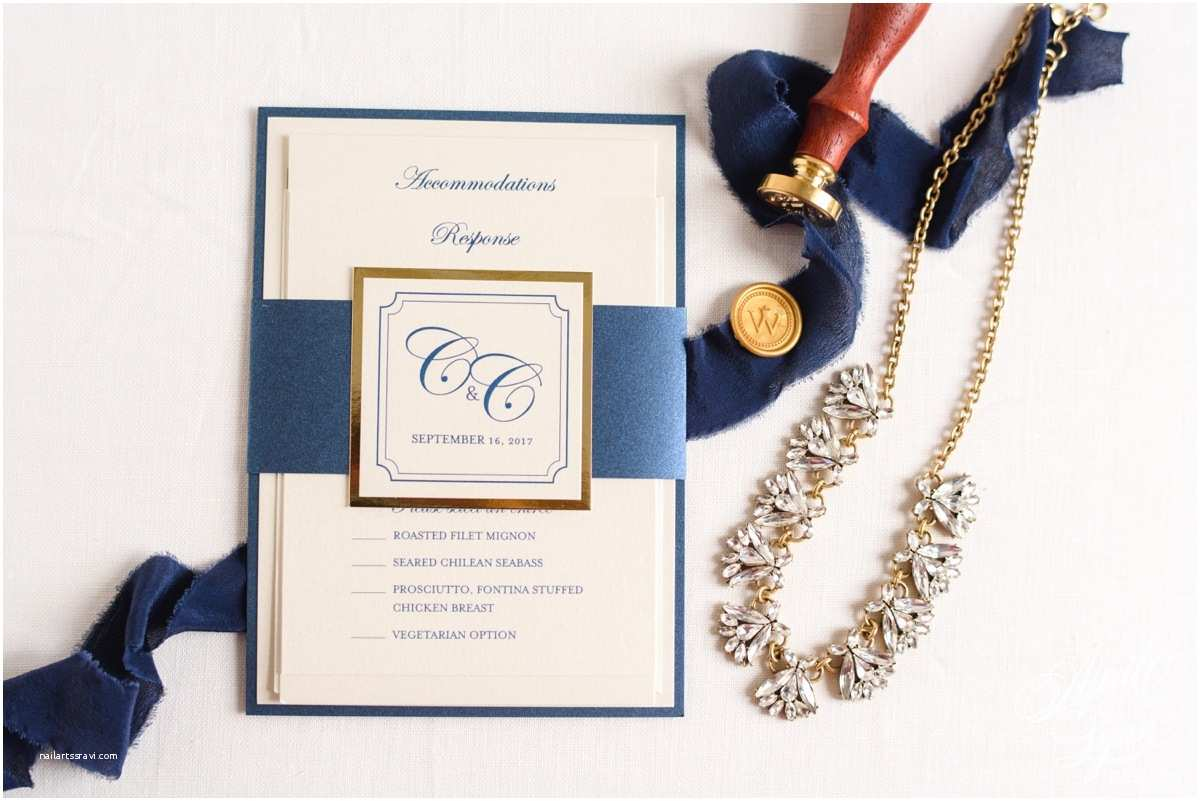 Navy and Gold Foil Wedding Invitations Colleen Chris's Luxury Gold Foil and Navy Wedding