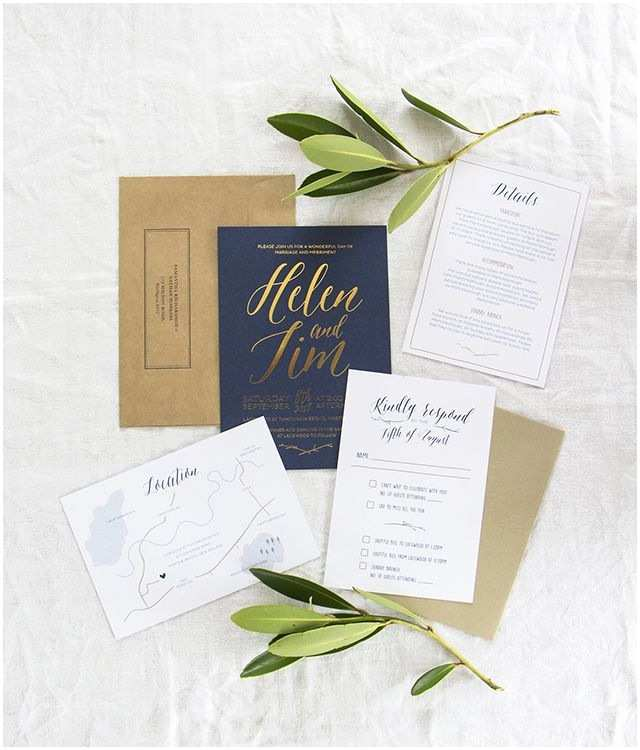 Navy and Gold Foil Wedding Invitations Elegant Gold Foil and Navy Wedding Invitations