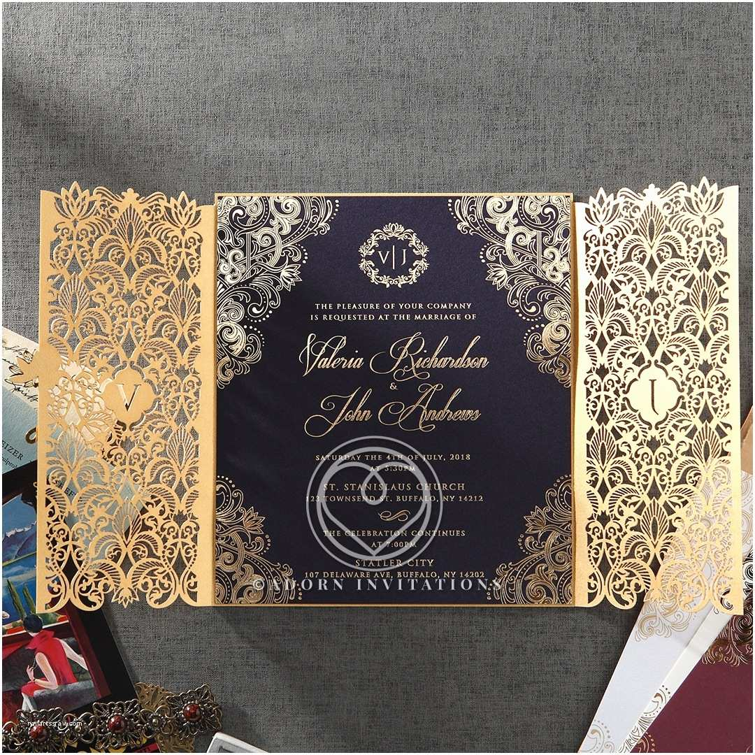 Navy and Gold Foil Wedding Invitations Gold Foil W Navy Elegant Glamorous Wedding Invitation