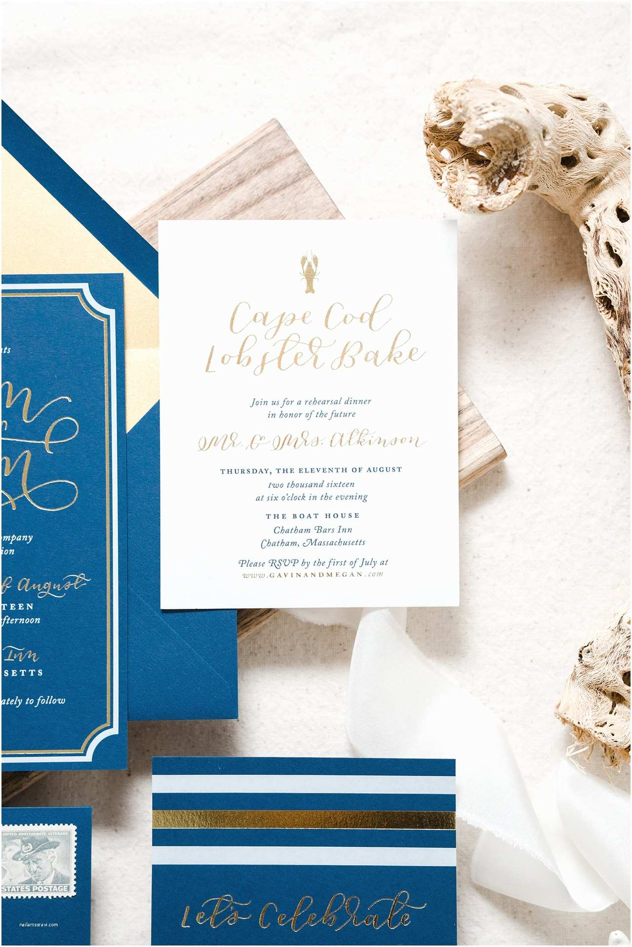 Navy and Gold Foil Wedding Invitations Nautical Navy and Gold Foil Wedding Invitations