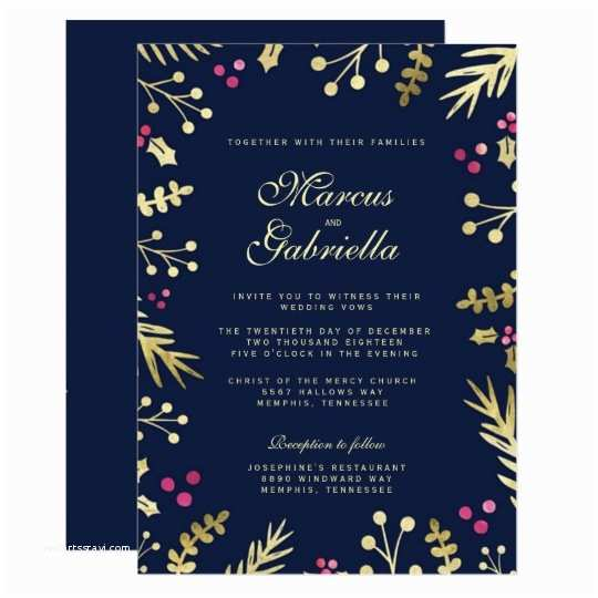 Navy and Gold Foil Wedding Invitations Navy Blue Gold Foil Holly Berry Christmas Wedding Card and