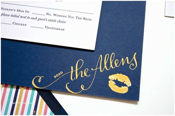 Navy and Gold Foil Wedding Invitations Navy Gold Foil Calligraphy Wedding Invitations