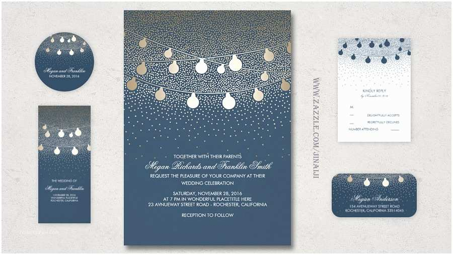 Navy and Gold Foil Wedding Invitations Read More – Faux Gold Foil String Lights Wedding