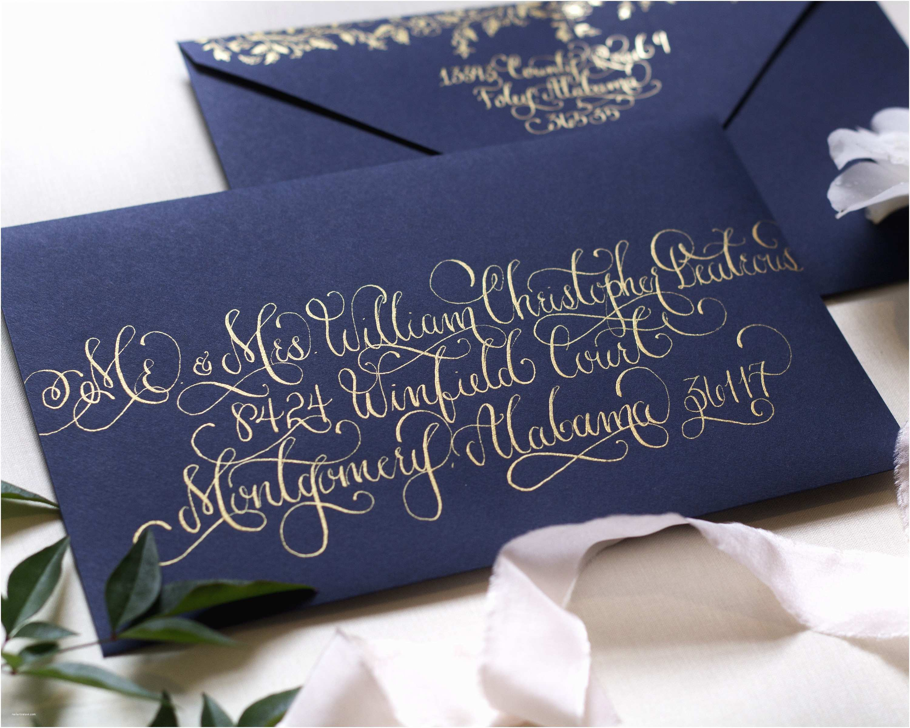 Navy and Gold Foil Wedding Invitations Regal Navy and Gold Foil Calligraphy Wedding Invitations