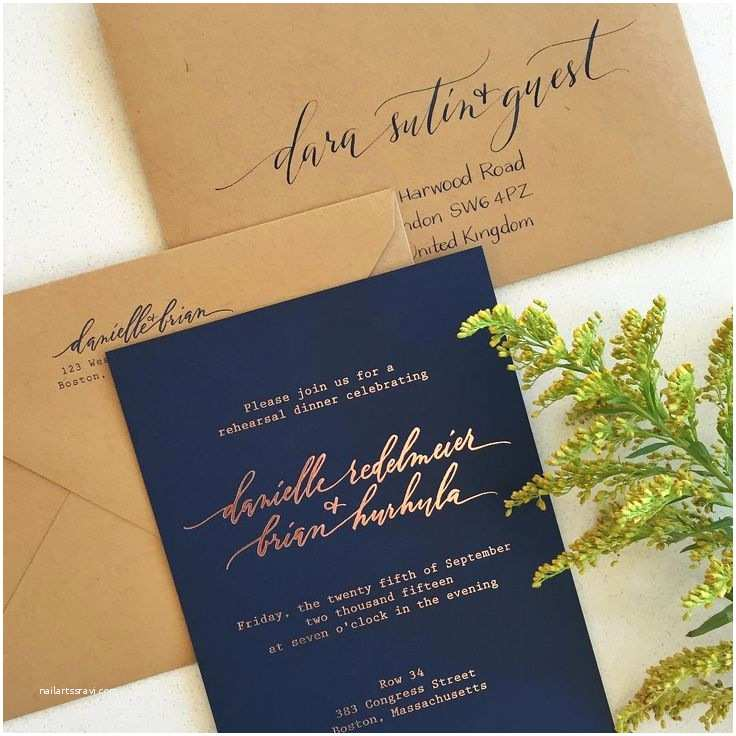 Navy and Gold Foil Wedding Invitations Rose Gold Foil with Navy Paper and Kraft Envelopes