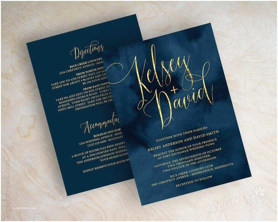 Navy and Gold Foil Wedding Invitations Wedding Invitations Navy Wedding Invitation Navy and