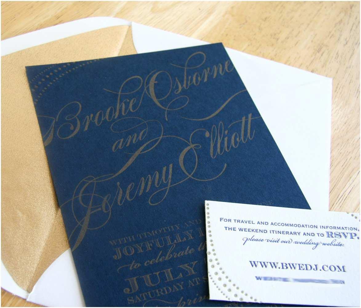 Navy and Gold Wedding Invitations Custom Letterpress Wedding Invitation Navy and Gold