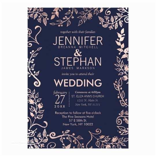 Navy and Gold Wedding Invitations Elegant Navy Blue Rose Gold Floral Wedding Invites