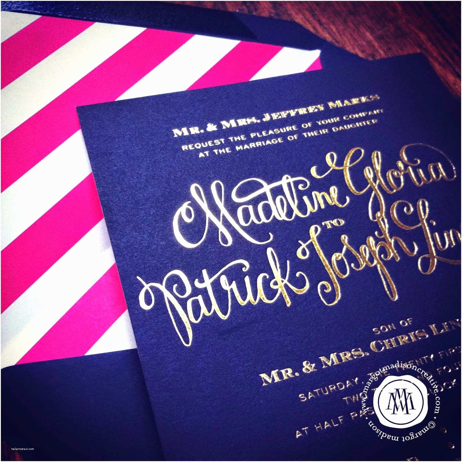 Navy and Gold Wedding Invitations Margotmadison Navy & Gold Wedding Invitation