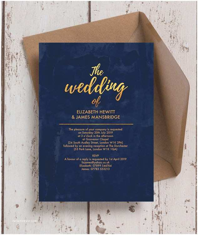 Navy and Gold Wedding Invitations Navy & Gold Wedding Invitation From £1 00 Each