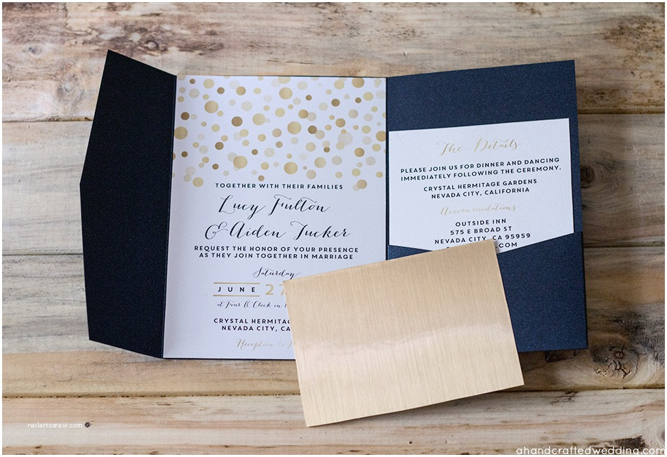 Navy and Gold Wedding Invitations Navy and Gold Wedding Invitations