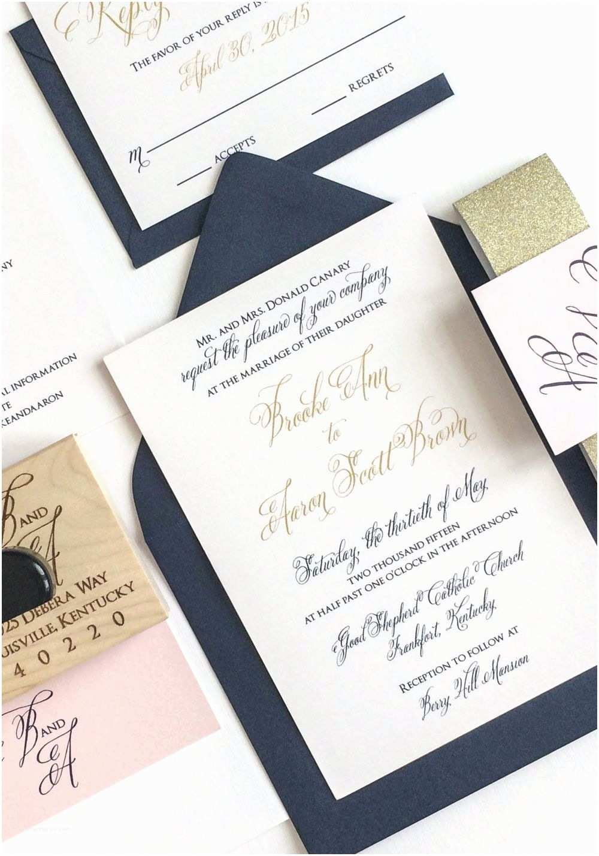 Navy and Gold Wedding Invitations Navy Blush and Gold Wedding Invitation