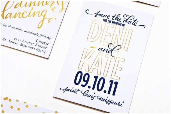 navy gold foil calligraphy wedding invitations