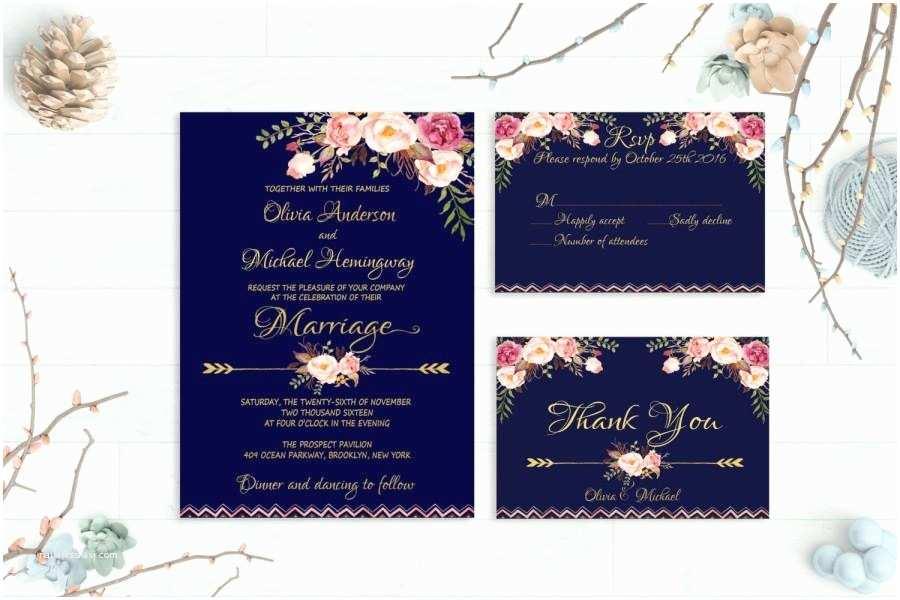 Navy and Gold Wedding Invitations Navy Wedding Invitation Printable Wedding Invitation